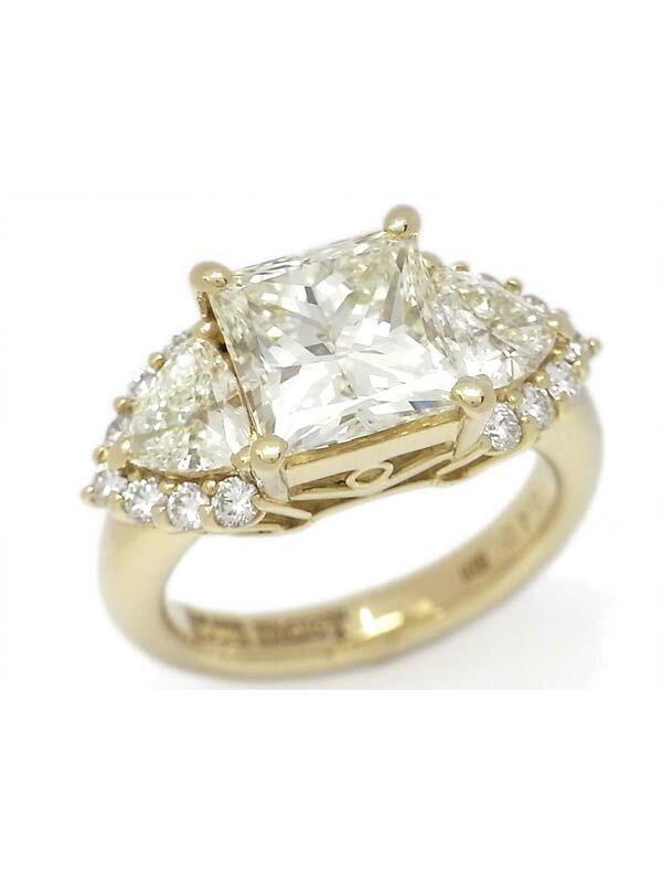 【鑑定書】【仕上済】セレクトジュエリー『K18YGリング ダイヤモンド3.681ct/VLY/VS-2 0.492ct 0.504ct』1週間保証【中古】