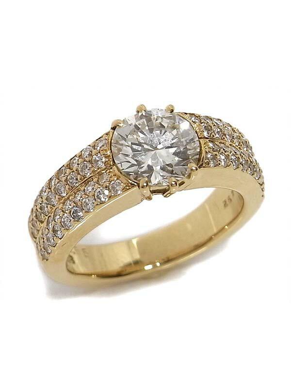 【ソーティング】【仕上済】セレクトジュエリー『K18YGリング ダイヤモンド1.492ct/H/VVS-2/GOOD 0.65ct』1週間保証【中古】