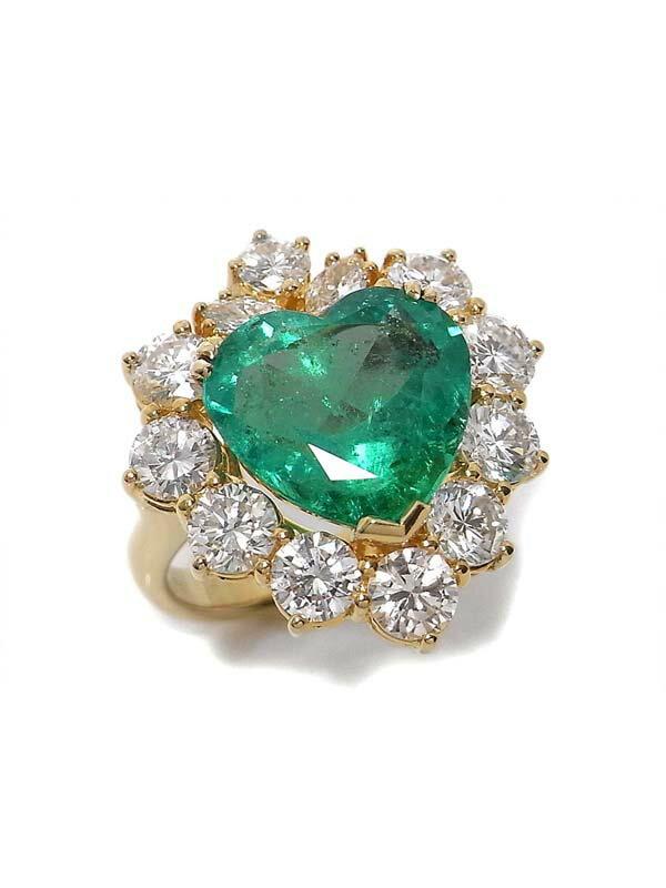【鑑別書】【仕上済】セレクトジュエリー『K18YGリング エメラルド5.97ct ダイヤモンド3.39ct』1週間保証【中古】