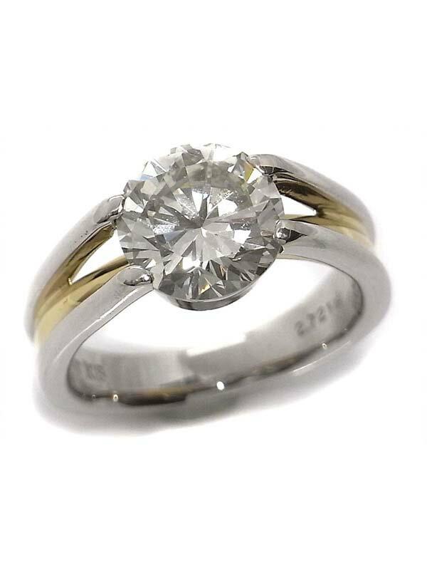 【ソーティング】【仕上済】セレクトジュエリー『K18YG/PT900リング ダイヤモンド2.721ct/L/VS-1/GOOD』1週間保証【中古】