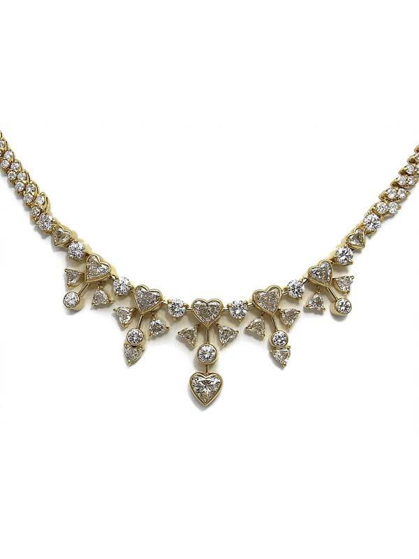 セレクトジュエリー『K18YGネックレス ダイヤモンド ハートモチーフ』1週間保証【中古】