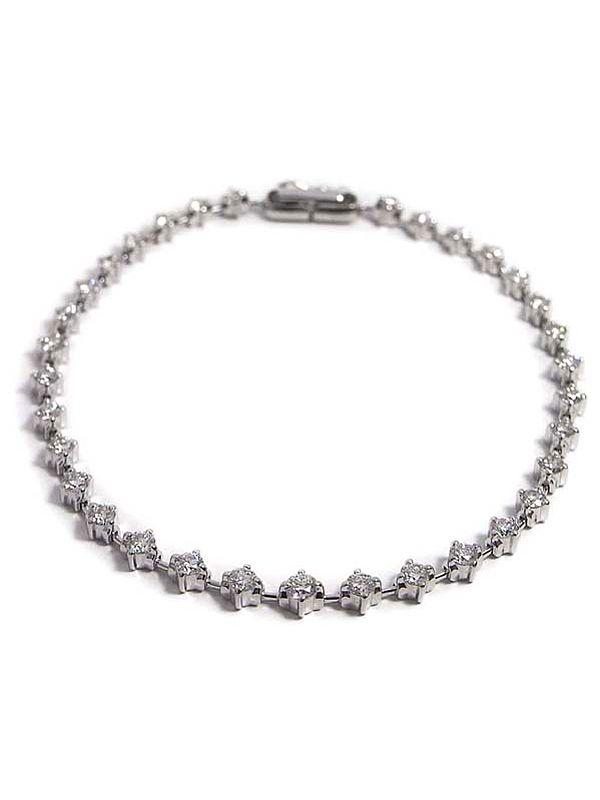 【仕上済】セレクトジュエリー『K18WGブレスレット ダイヤモンド2.00ct テニスブレス』1週間保証【中古】