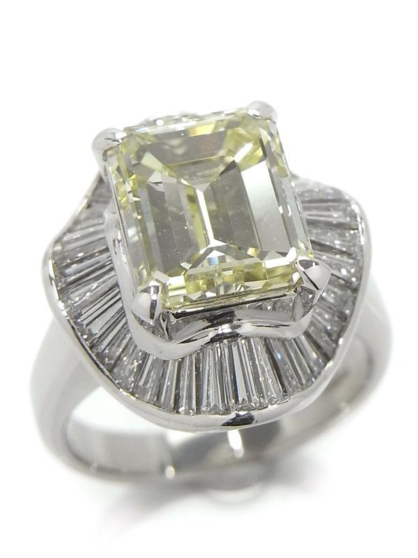 【鑑定書】【仕上済】セレクトジュエリー『PT900リング ダイヤモンド5.064ct/LIGHT YELLOW/SI-1 1.71ct』15号 1週間保証【中古】