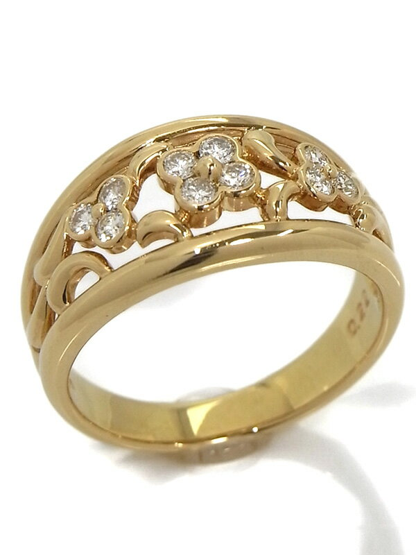【TASAKI】タサキ『K18YGリング ダイヤモンド0.22ct フラワーデザイン』11号 1週間保証【中古】