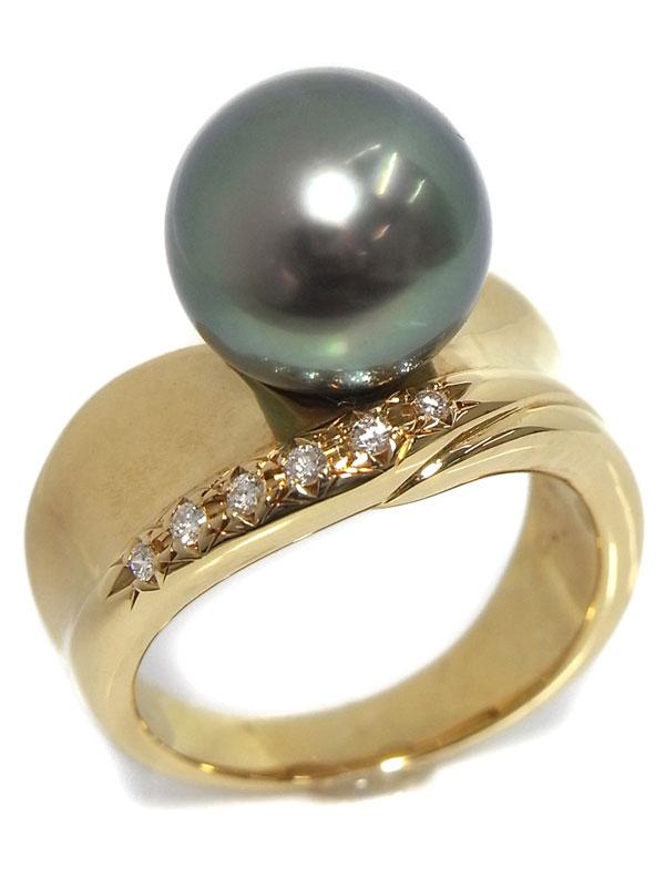 【TASAKI】【仕上済】タサキ『K18YGリング パール11.3mm ダイヤモンド0.07ct』14号 1週間保証【中古】