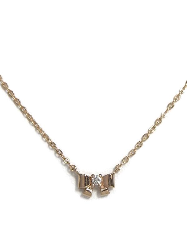セレクトジュエリー『K18PGネックレス ダイヤモンド0.01ct リボンモチーフ』1週間保証【中古】