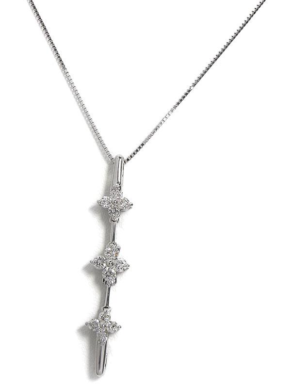 【2Way】セレクトジュエリー『K18WGネックレス ダイヤモンド0.30ct フラワーモチーフ』1週間保証【中古】