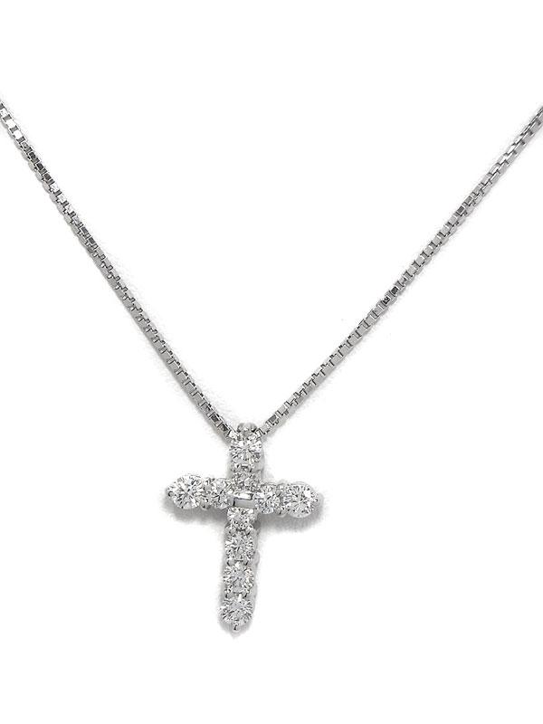 【TASAKI】タサキ『PT900/PT850ネックレス ダイヤモンド0.48ct クロスモチーフ』1週間保証【中古】