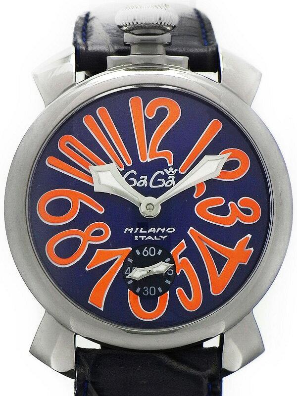 【GaGa MILANO】【裏スケ】ガガミラノ『マヌアーレ 48mm』5010.8 メンズ 手巻き 1ヶ月保証【中古】