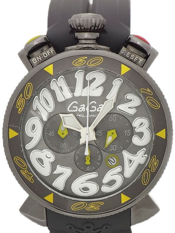 【GaGa MILANO】ガガミラノ『マヌアーレ クロノグラフ 48mm』6054.6 メンズ クォーツ 1ヶ月保証【中古】
