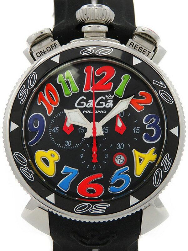 【GaGa MILANO】ガガミラノ『マヌアーレ クロノ 48mm』6050.2 メンズ クォーツ 1ヶ月保証【中古】