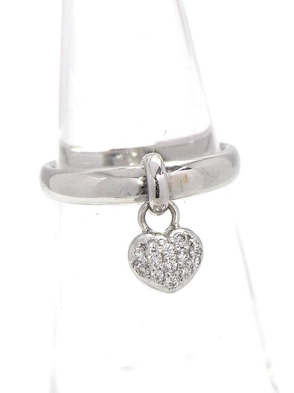 【Ponte Vecchio】【仕上済】ポンテヴェキオ『K18WGリング ダイヤモンド0.13ct ハートモチーフ』11号 1週間保証【中古】