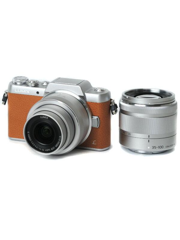 【Panasonic】パナソニック『LUMIX(ルミックス) GF7ダブルズームレンズキット』DMC-GF7W-T 1600万画素 フルHD動画 ミラーレス一眼カメラ【中古】