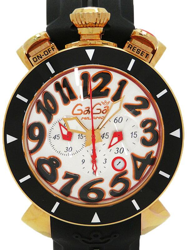 【GaGa MILANO】ガガミラノ『マヌアーレ クロノグラフ 48mm』6056.6 メンズ クォーツ 1ヶ月保証【中古】