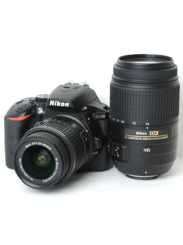 【Nikon】ニコン『D5500ダブルズームキット』D5500WZBK ブラック 18-55/55-300mm デジタル一眼レフカメラ【中古】