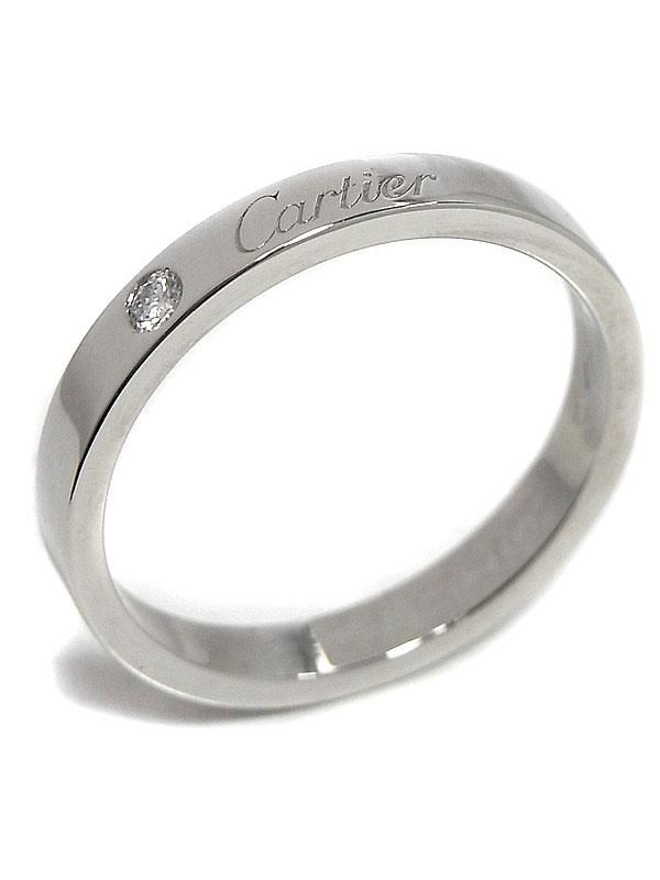 【Cartier】カルティエ『エングレーブド リング 1Pダイヤ』17号 1週間保証【中古】