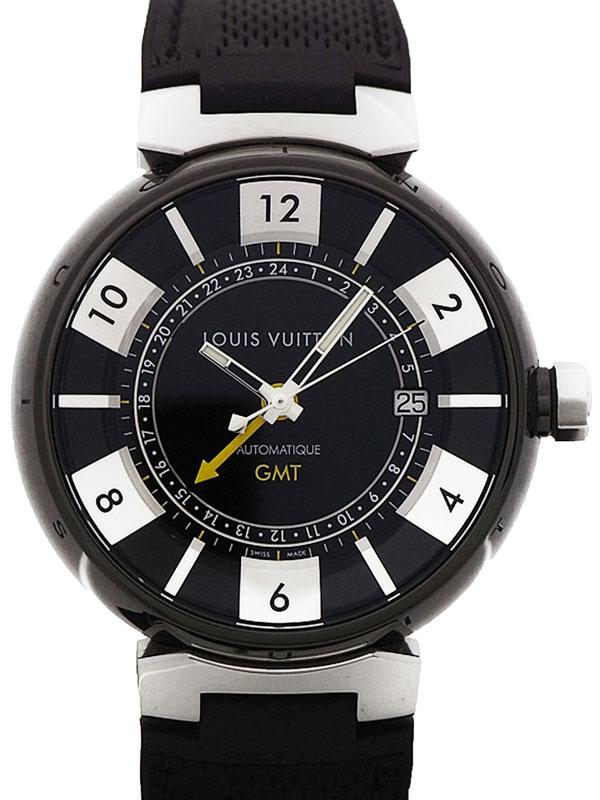 【LOUIS VUITTON】ルイヴィトン『タンブール インブラック GMT』Q113I0 メンズ 自動巻き 3ヶ月保証【中古】