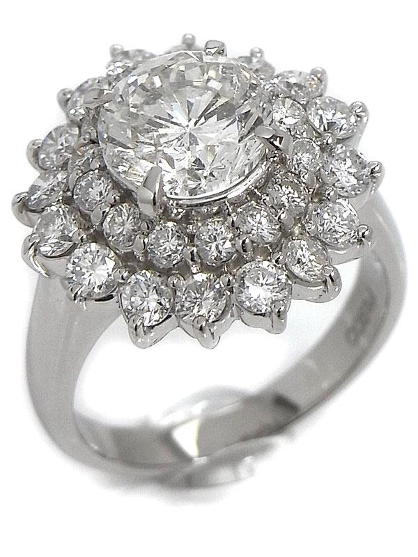 【ソーティング】【仕上済】セレクトジュエリー『PT900リング ダイヤモンド2.268ct/I/I-1/GOOD 1.58ct』12号 1週間保証【中古】