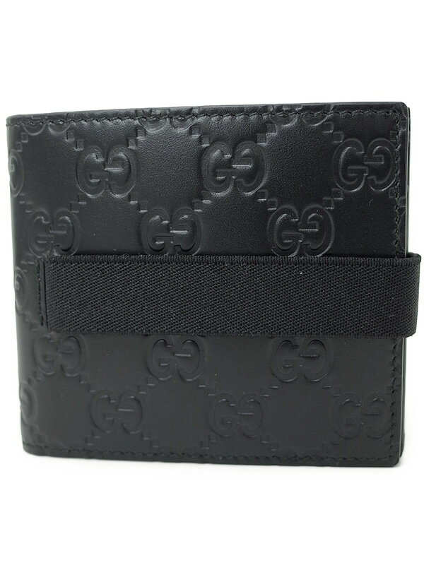 【GUCCI】グッチ『グッチシマ エラスティックバンド 二つ折り短財布』406470 メンズ 1週間保証【中古】