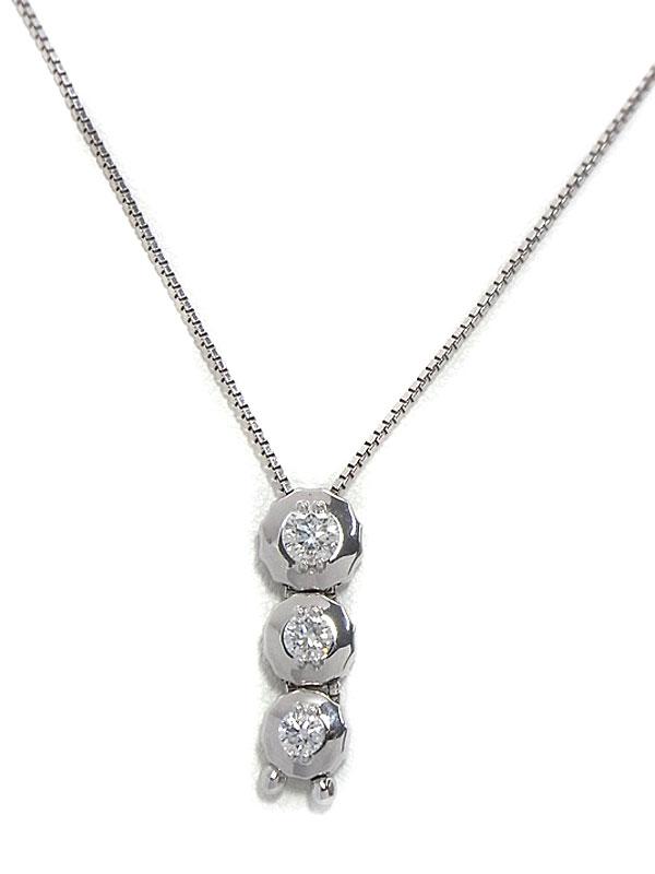 【TASAKI】タサキ『K18WGネックレス 3Pダイヤモンド0.56ct』1週間保証【中古】