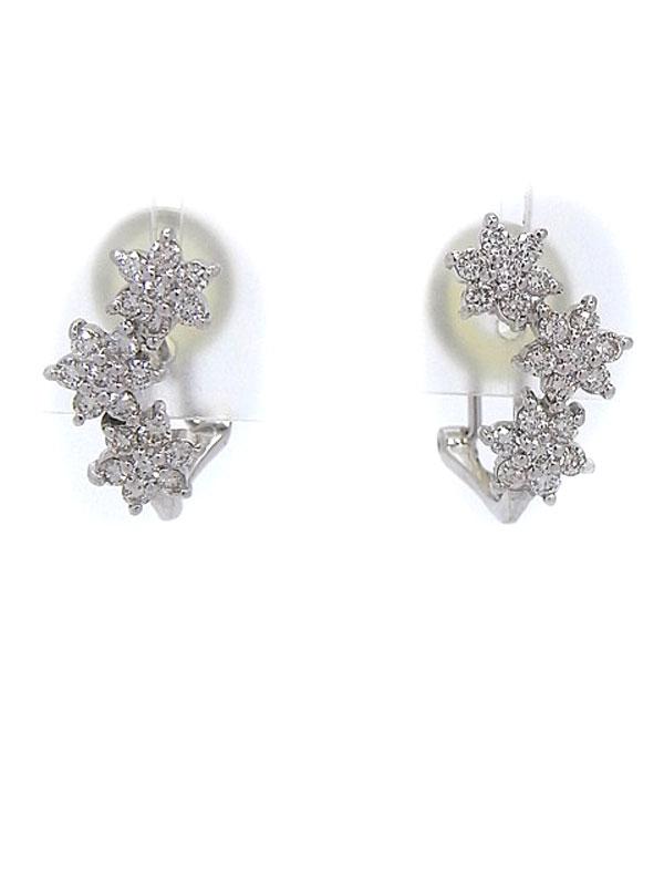 【2Way】セレクトジュエリー『K18WGピアス/イヤリング ダイヤモンド0.41ct 0.41ct フラワーモチーフ』1週間保証【中古】