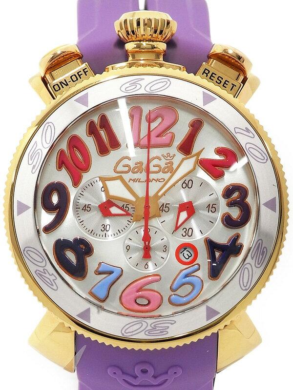 【GaGa MILANO】ガガミラノ『マヌアーレ クロノグラフ 48mm』6056.9 メンズ クォーツ 1ヶ月保証【中古】