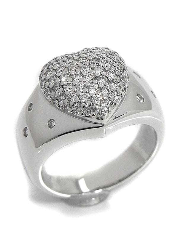 【LANVIN】【仕上済】ランバン『K18WGリング ダイヤモンド0.65ct ハートモチーフ』8号 1週間保証【中古】