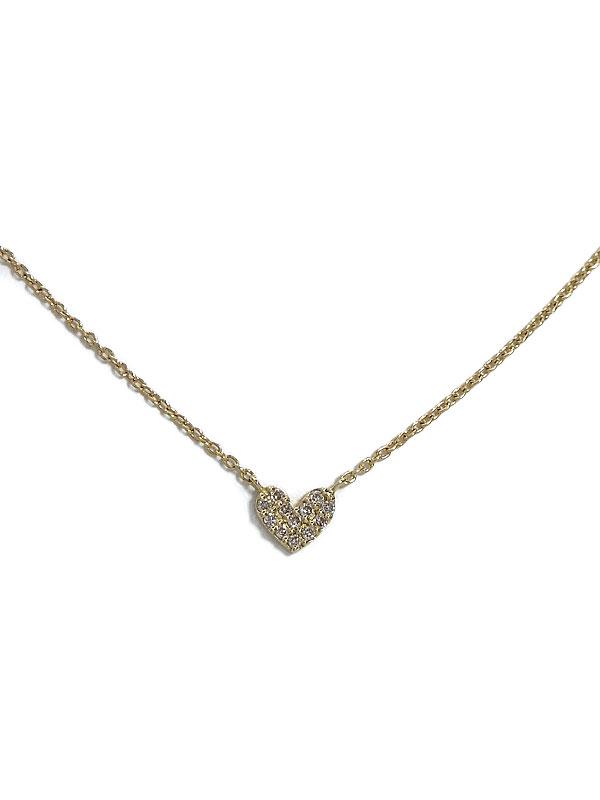 セレクトジュエリー『K18YGネックレス ダイヤモンド パヴェハートモチーフ』1週間保証【中古】