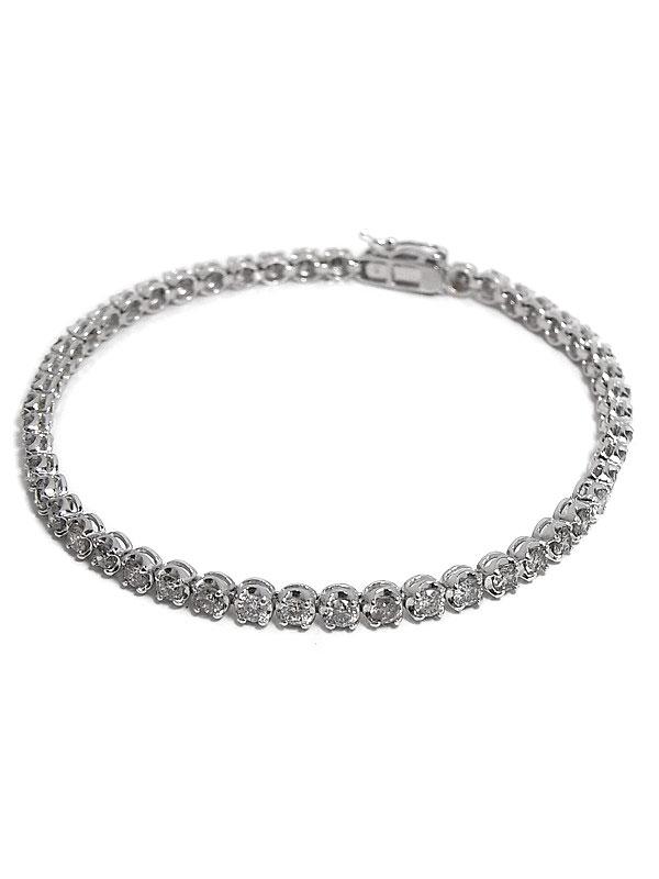 セレクトジュエリー『PT900/K14WGブレスレット ダイヤモンド3.00ct テニスブレス』1週間保証【中古】