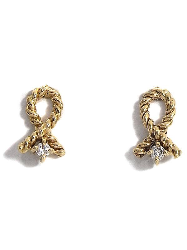 【CELINE】【仕上済】セリーヌ『K18YGピアス ダイヤモンド0.06ct』1週間保証【中古】