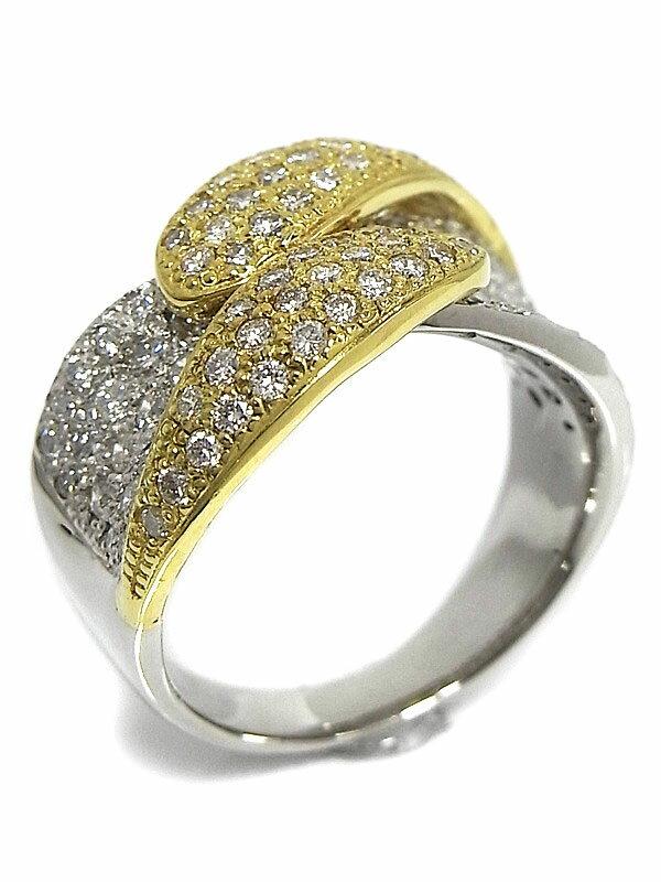 【仕上済】セレクトジュエリー『PT900/K18YGリング ダイヤモンド1.38ct』10.5号 1週間保証【中古】