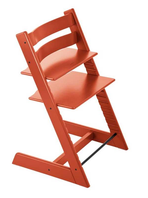 ストッケ『トリップ トラップ』ラバオレンジ ハイチェア 北欧デザイン 木製ベビーチェア 【中古】