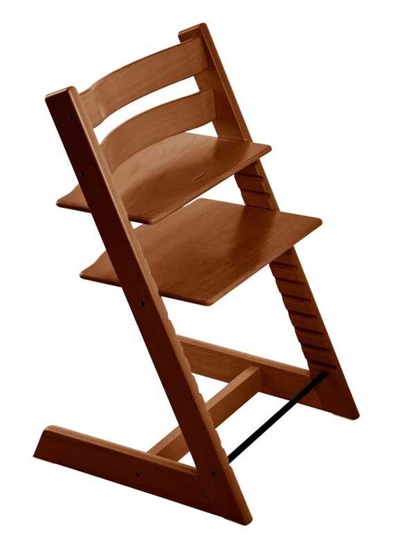 ストッケ『トリップ トラップ』ウォールナットブラウン ハイチェア 北欧デザイン 木製ベビーチェア 【中古】