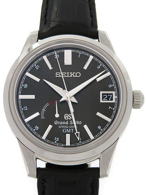 【SEIKO GS】【裏スケ】【'16年購入】セイコー『グランドセイコー GMT』SBGE027 メンズ スプリングドライブ 3ヶ月保証【中古】