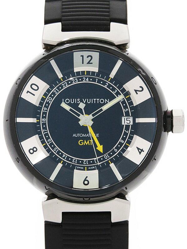 【LOUIS VUITTON】ルイヴィトン『タンブール インブラック GMT』Q113K メンズ 自動巻き 3ヶ月保証【中古】