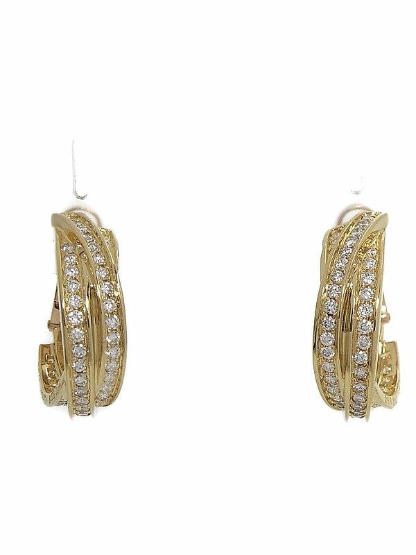 【Cartier】【仕上済】【3連ループ】カルティエ『K18YGピアス ダイヤモンド』1週間保証【中古】