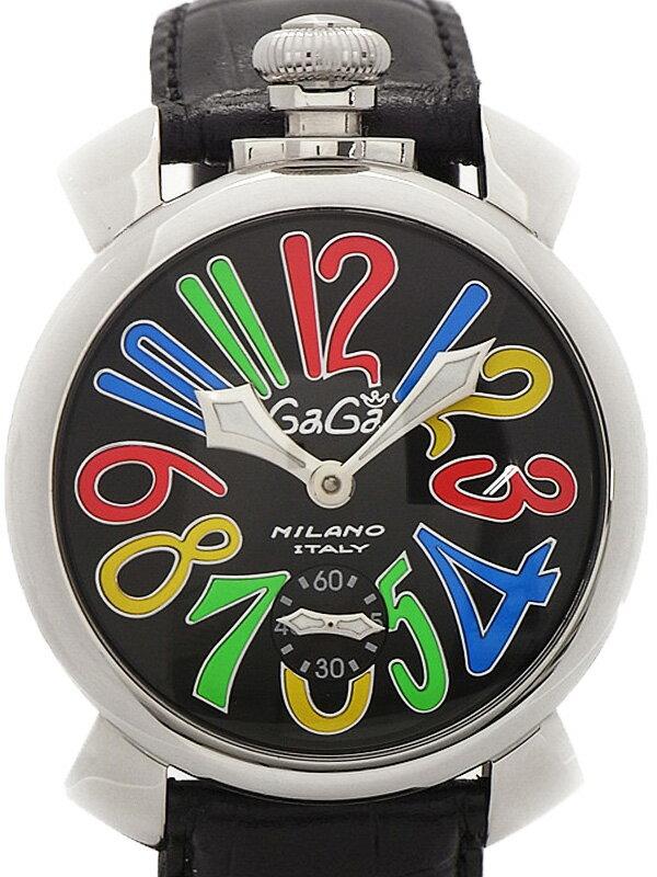 【GaGa MILANO】【裏スケ】ガガミラノ『マヌアーレ 48mm』5010.2 メンズ 手巻き 1ヶ月保証【中古】