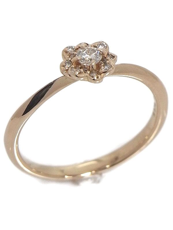 セレクトジュエリー『K18PGリング ダイヤモンド0.15ct フラワーモチーフ』11号 1週間保証【中古】