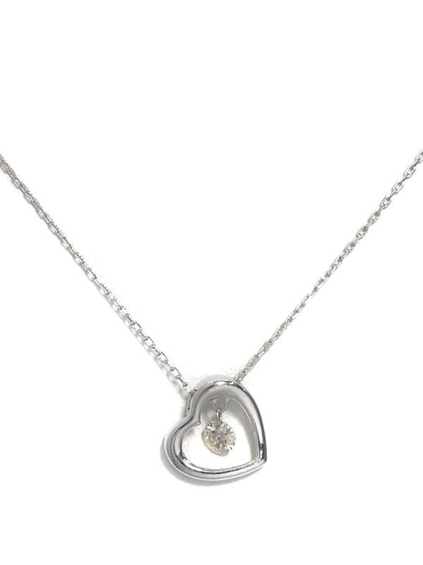 セレクトジュエリー『K10WGネックレス ダイヤモンド0.08ct ハートモチーフ』1週間保証【中古】