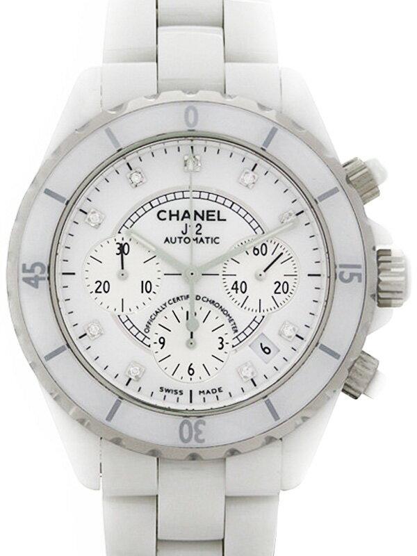 【CHANEL】シャネル『J12 ホワイトセラミック クロノグラフ 9Pダイヤ』H2009 メンズ 自動巻き 6ヶ月保証【中古】