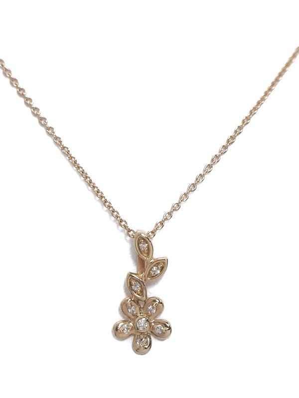 セレクトジュエリー『K18PGネックレス ダイヤモンド フラワーモチーフ』1週間保証【中古】