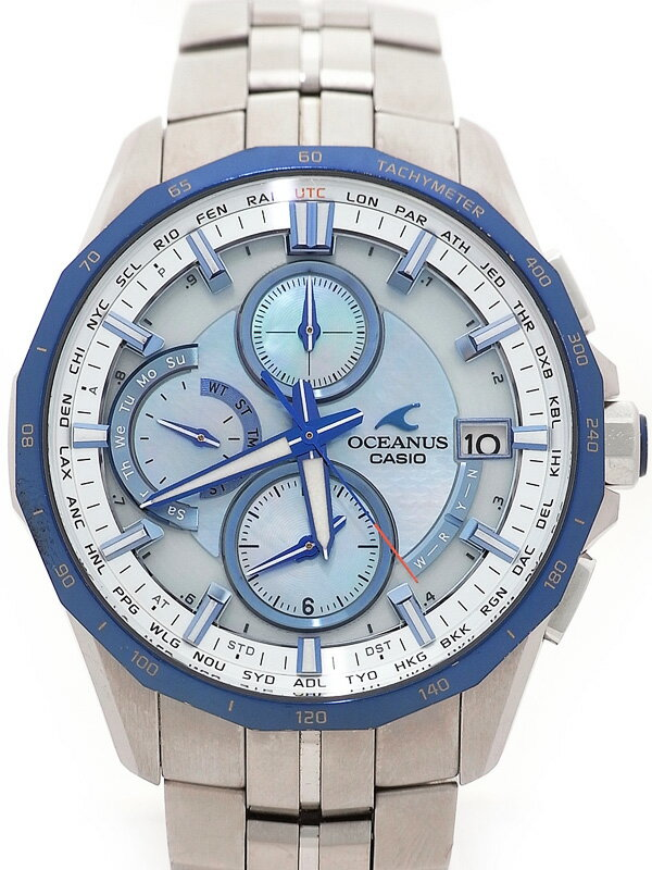 【CASIO】【OCEANUS】カシオ『オシアナス マンタ アクアマリンブルー』OCW-S3000P-2AJF メンズ ソーラー電波クォーツ 3ヶ月保証【中古】
