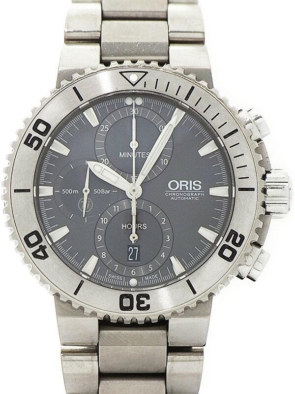 【ORIS】オリス『アクイス クロノグラフ』674 7655 7253M メンズ 自動巻き 1ヶ月保証【中古】
