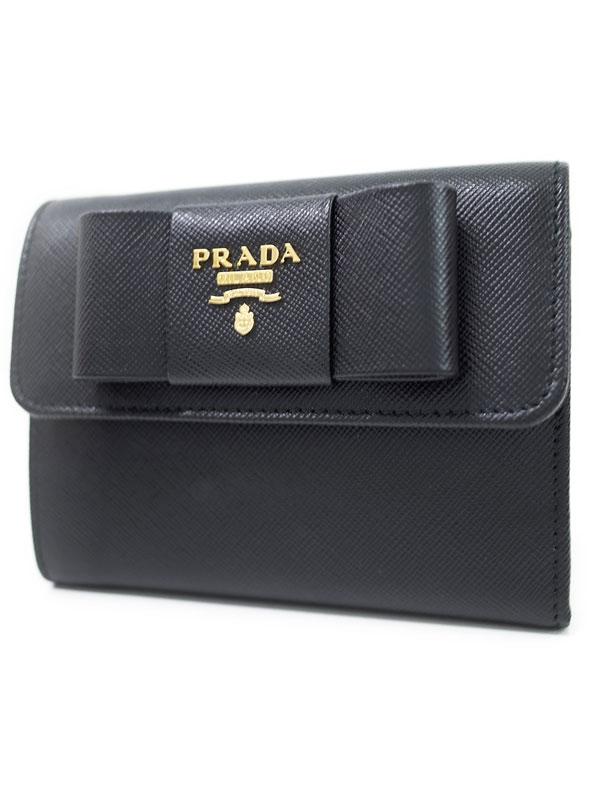 【PRADA】プラダ『リボン 三つ折り短財布』1MH840 レディース 1週間保証【中古】