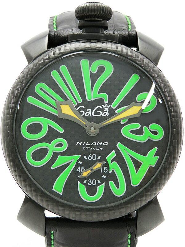 【GaGa MILANO】【裏スケ】ガガミラノ『マヌアーレ 48mm』5016.3 メンズ 手巻き 1ヶ月保証【中古】
