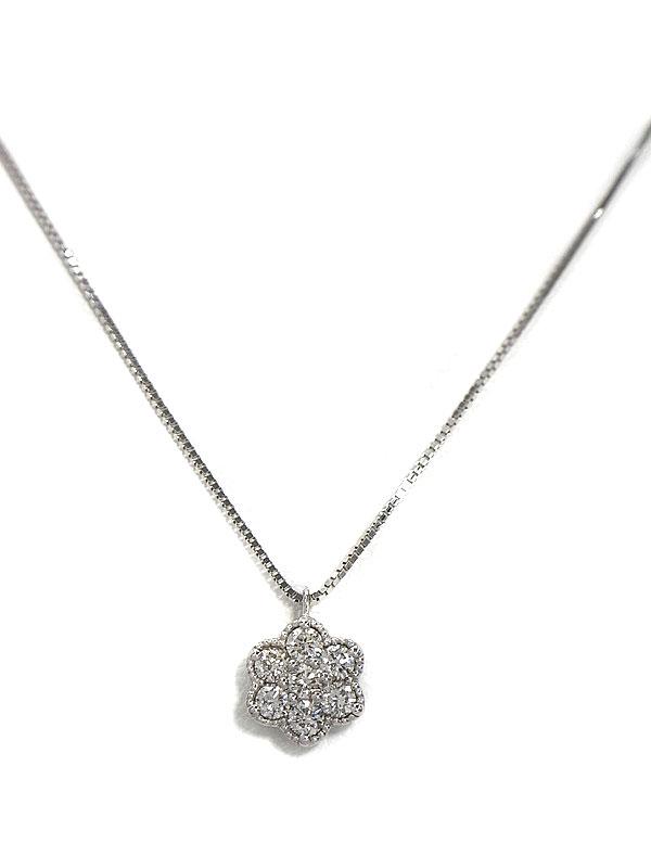 セレクトジュエリー『K18WGネックレス ダイヤモンド0.20ct フラワーモチーフ』1週間保証【中古】