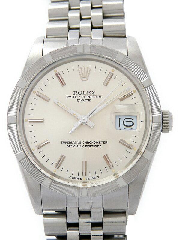 【ROLEX】【エンジンターンドベゼル】【OH済】ロレックス『オイスターパーペチュアルデイト』15010 R番'87年頃製 メンズ 自動巻き 12ヶ月保証【中古】