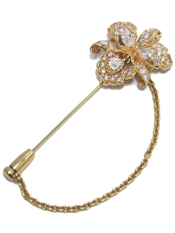 セレクトジュエリー『K18YGブローチ ダイヤモンド1.02ct 1.01ct フラワーモチーフ』1週間保証【中古】