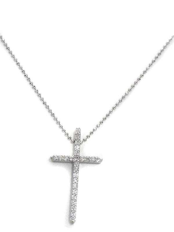 セレクトジュエリー『K18WGネックレス ダイヤモンド0.31ct クロスモチーフ』1週間保証【中古】
