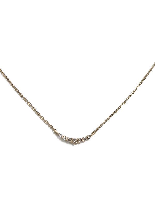 【agete】アガット『K10YGネックレス 7Pダイヤモンド0.05ct 三日月モチーフ』  1週間保証【中古】